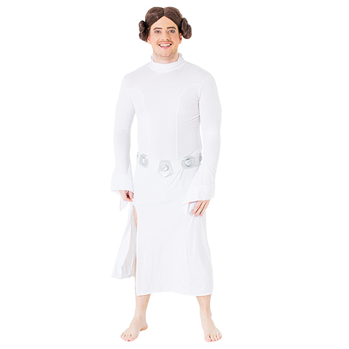 A man dressed up as Princess Leia, in a white dress