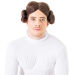 Close up of a man dressed up as Princess Leia