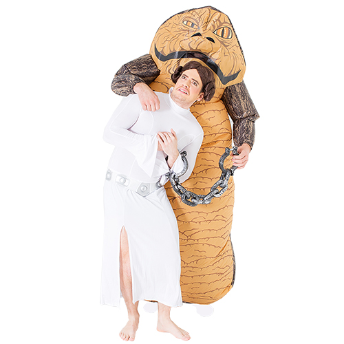 A man dressed up as Princess Leia, posing with a man dressed as Jabba the Hut