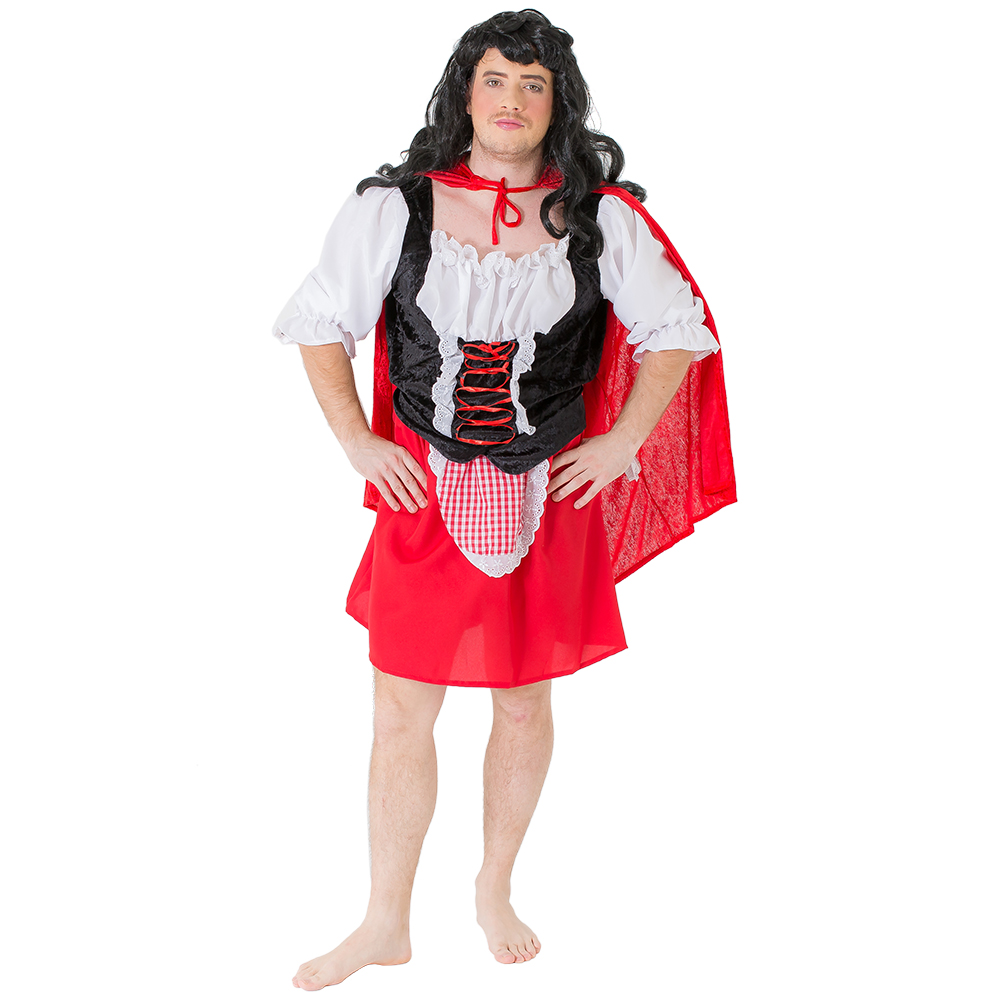 Male model wearing Drag Red Riding Hood outfit