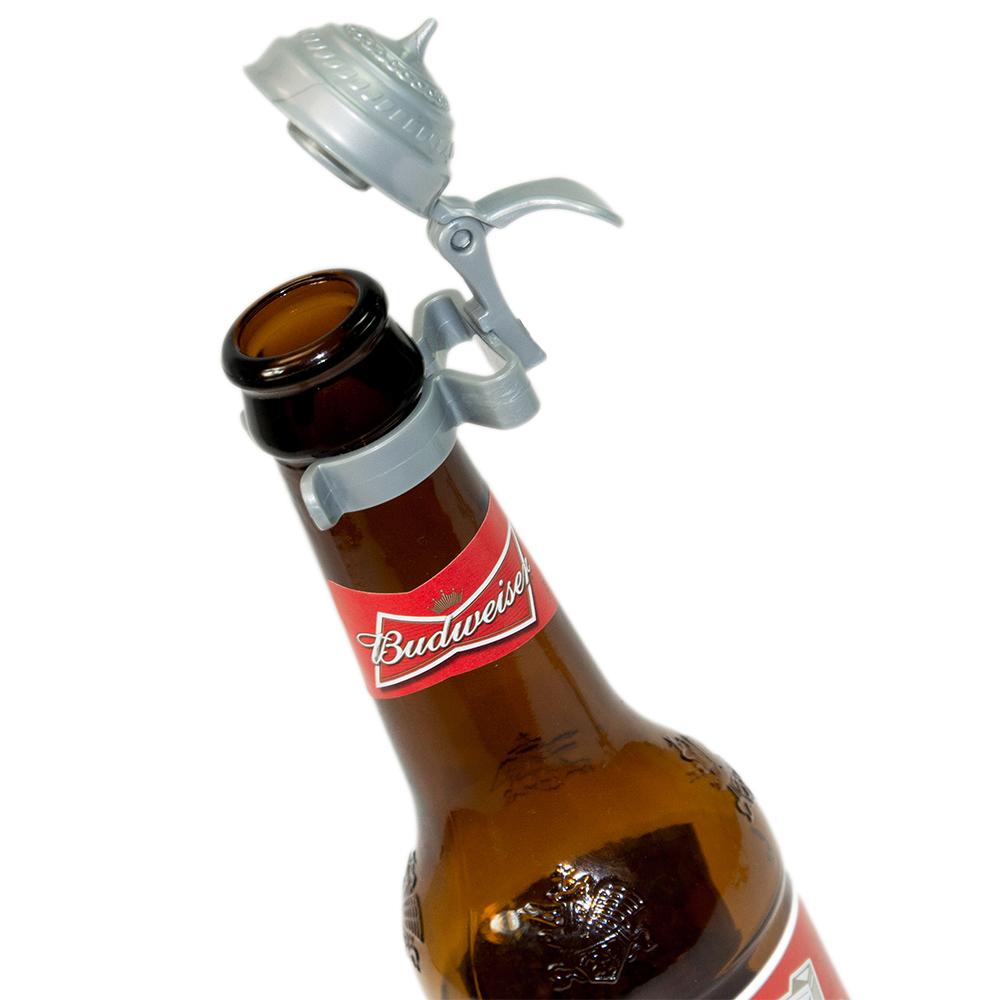 Oktoberfest bottle topper atop a bottle of beer