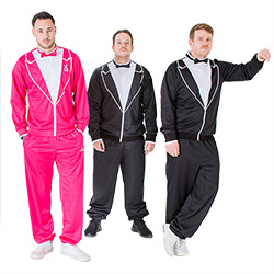 Three male models wearing traxedos, two in black and one in pink