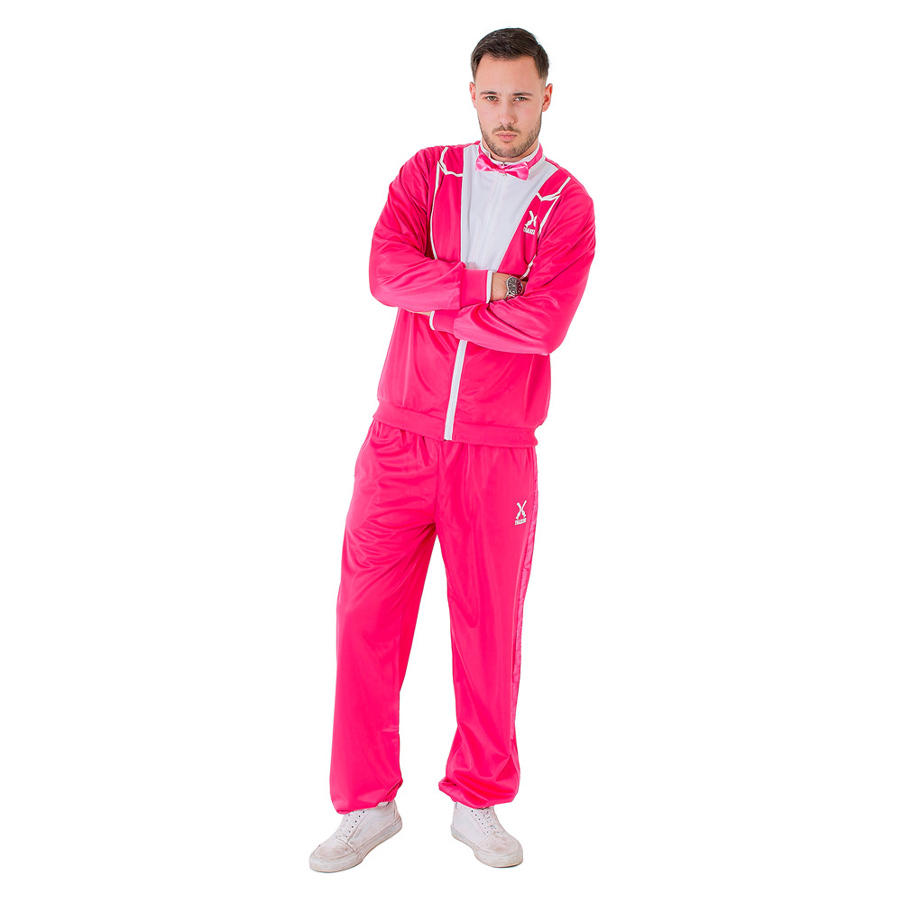 Man wearing the flamingo pink traxedo
