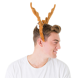 Dancing ears on a male model's head, taken from the side