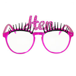 Hen party eyelash glasses from the front