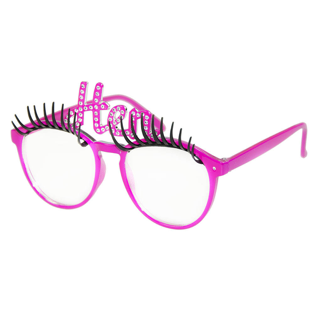 Hen party eyelash glasses on an angle