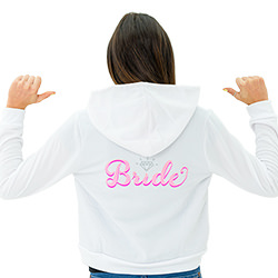 A woman wearing a Bride-to-Be hoodie modelled from the back