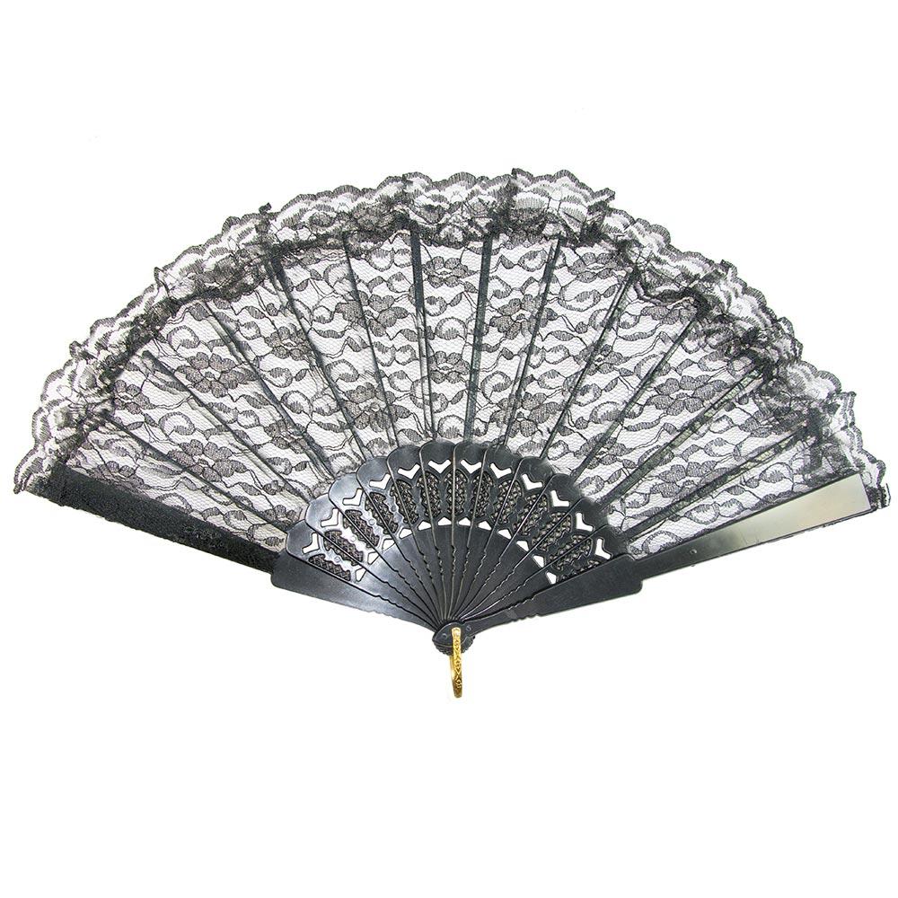 A black lace fan spread out