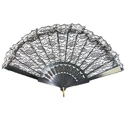 A black lace fan spread out