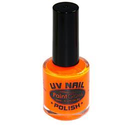 A bottle of orange nail polish.