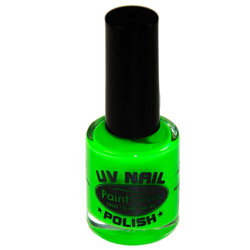 A close up of the green UV nail varnish