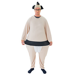 Sumo costume with bald head hat.