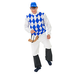 Blue and white diamond jockey silks.