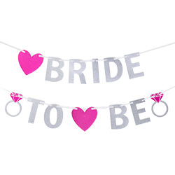 A Bride-to-Be sparkly bunting against a white backdrop