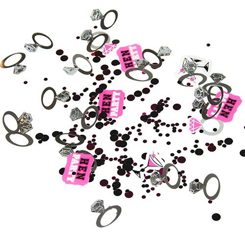 Hen party confetti, including dots, rings and Hen Party stickers, to a white backdrop