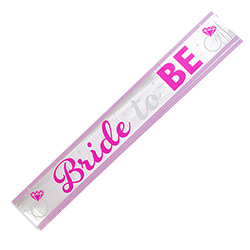 A Bride-to-Be metallic banner with pink trim