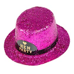 Side angle of a pink, glitter tiny hat with Hen Party label on front