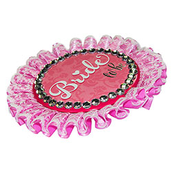 Side Angle Of Deluxe Bride To Be Badge On White Background