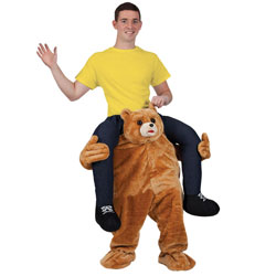 Male model wearing Carry Me Bear costume with one hand in the air
