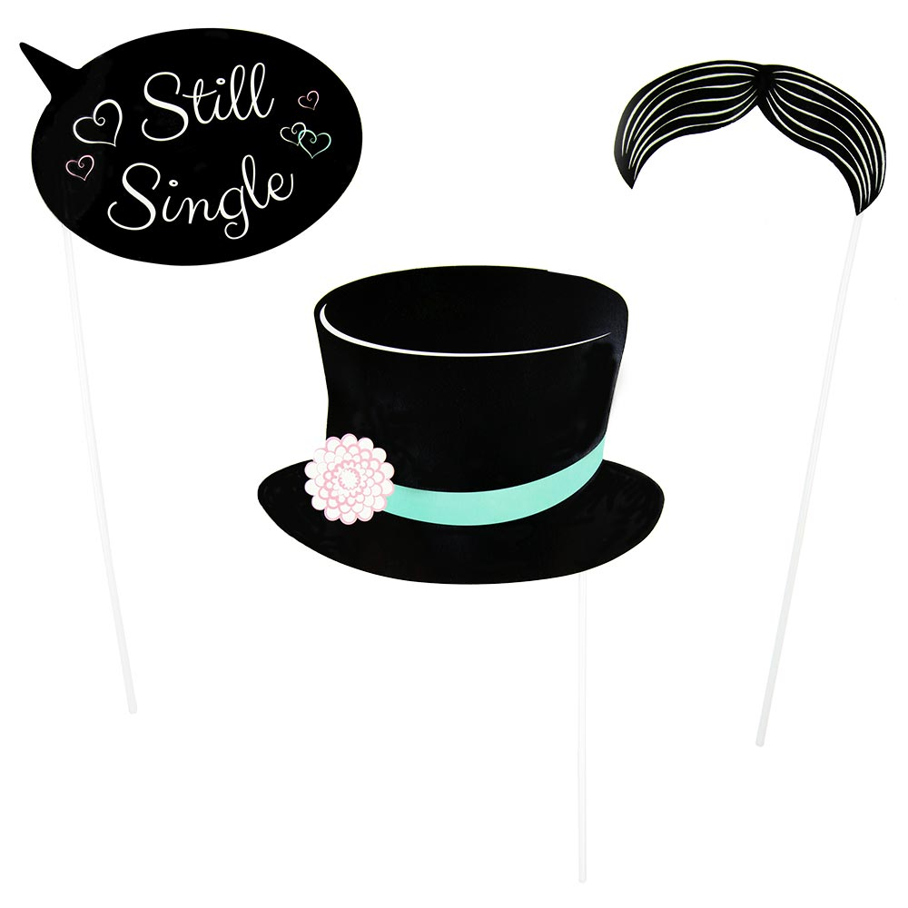 A speech bubble saying 'still single', a moustach and a top hat on sticks