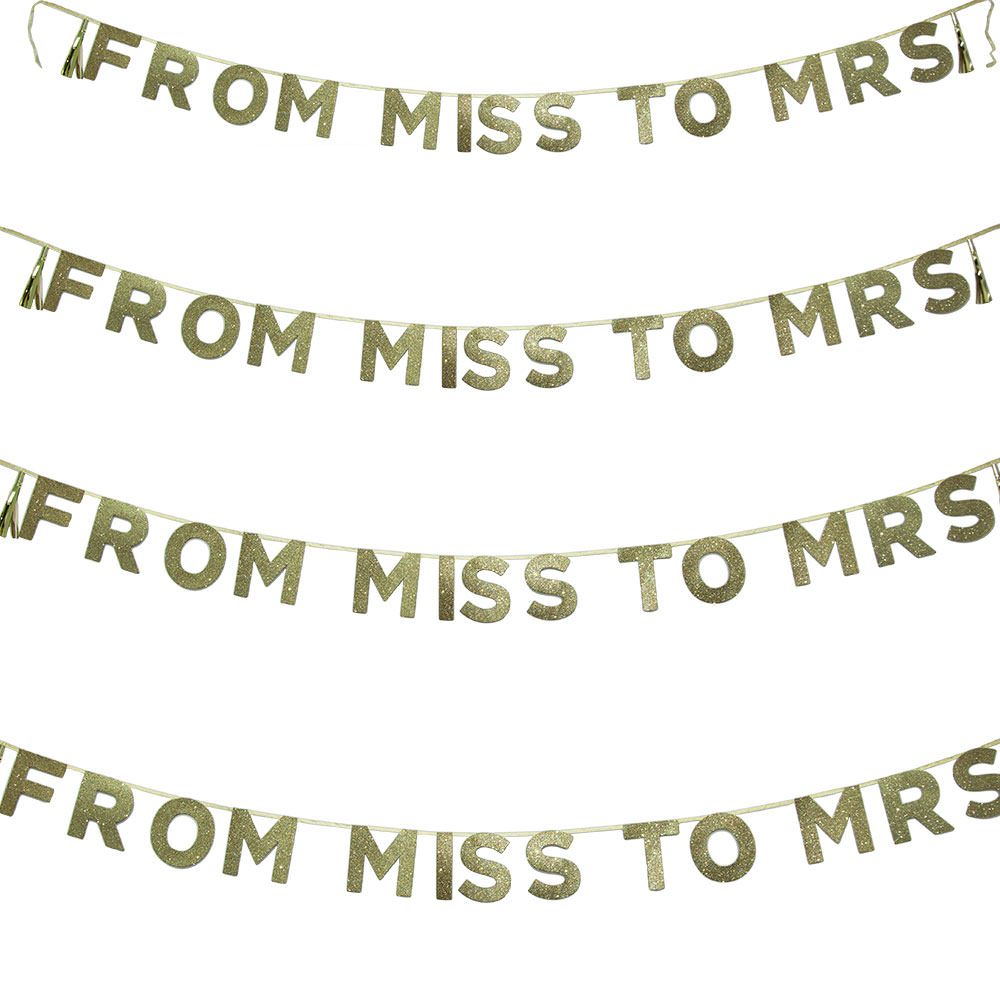 From Miss To Mrs Banner On White Background
