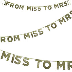 From Miss To Mrs Banner Gold Banner