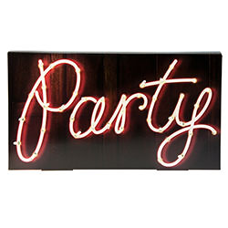 Illuminated Party Sign On White Background