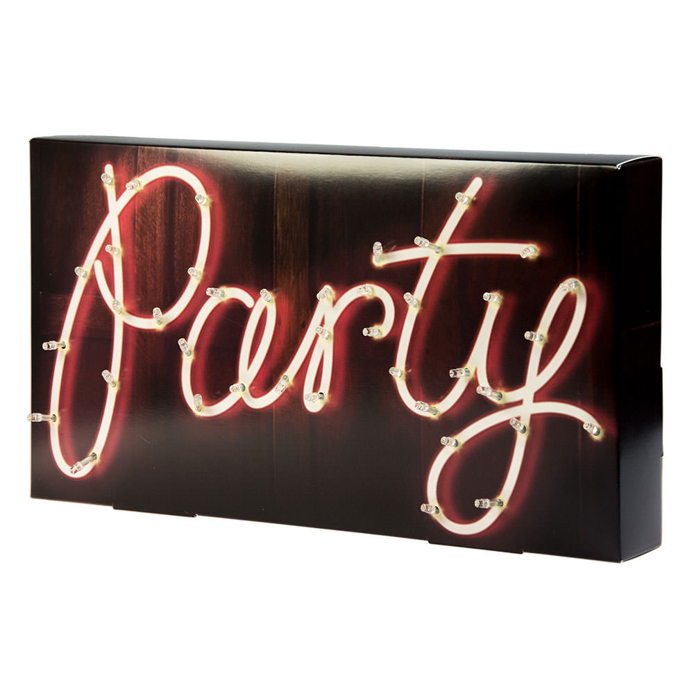 Side Angle Of Illuminated Party Sign On White Background