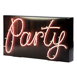 Side Angle Of Illuminated Party Sign On White Background
