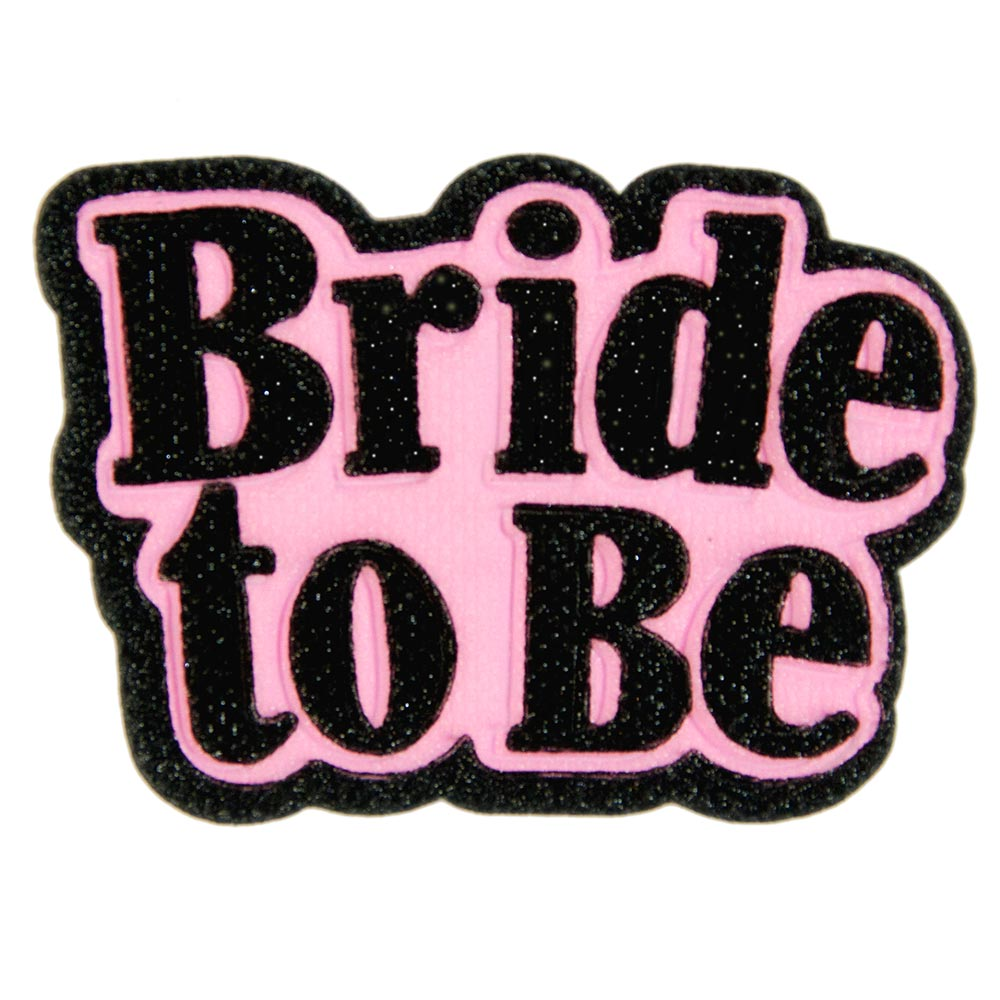 Black and pink Bride-to-Be badge