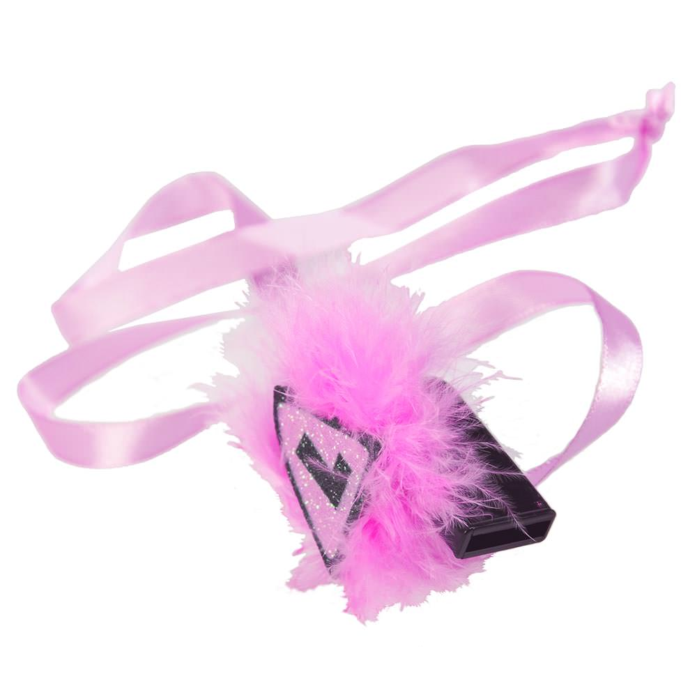 Pink L Plate Whistle With Fur to a white backdrop