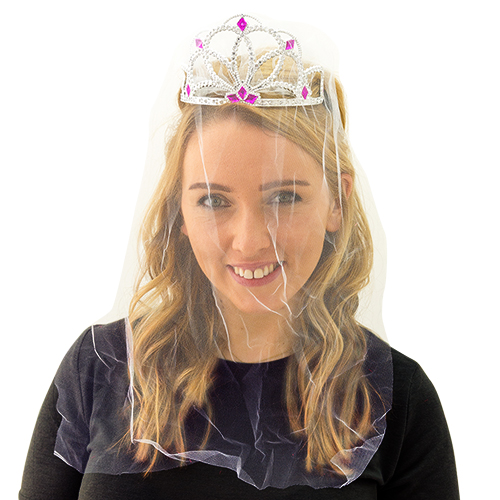 A girl wearing a hen party tiara with veil