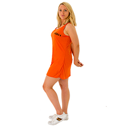 A girl wearing an orange prisoner dress with her arms behind her back