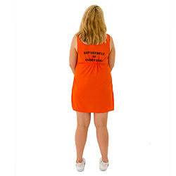 A girl turned to the back, with an orange prisoner dress on