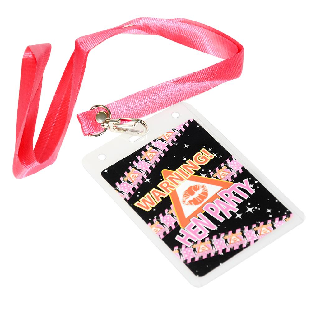 Hen party lanyard with attached pink neck ribbon