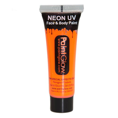 Tube of orange neon UV face paint