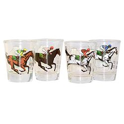 Drinking Derby shot glasses in a line
