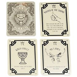 Four cards from the Game of Kings drinking game