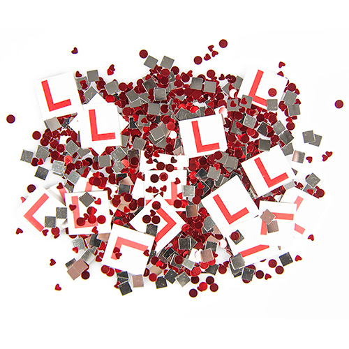 A pile of confetti with L plates in.