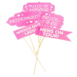 Hen party props with slogans on, lying out together