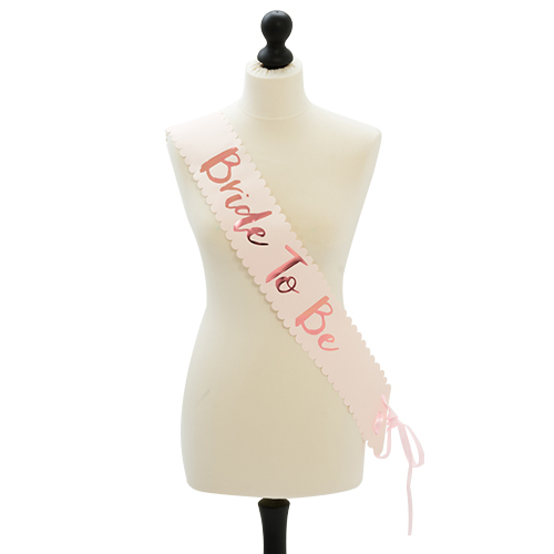 Rose gold bride to be sash