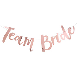 Rose gold team bride bunting.