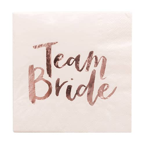 Close up of a napkin with Team Bride written on