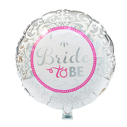 Foil Bride-to-Be balloon with silver and pink trim