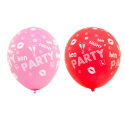 A pink and a red hen party balloon