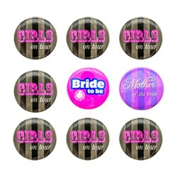 Nine hen party badges laid out