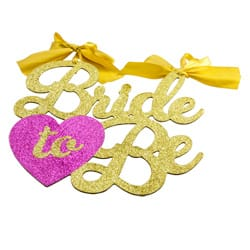 Glittery Bride to Be hen party sign