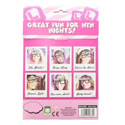 The back of the hen party glasses pack