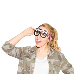 A girl wearing Princess hen party glasses