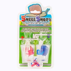 Racing snails laid out with the shot glasses and the keys